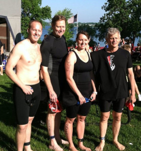 My daughter, friend and his son and me before the start of the 2011 Buffalo Triathlon