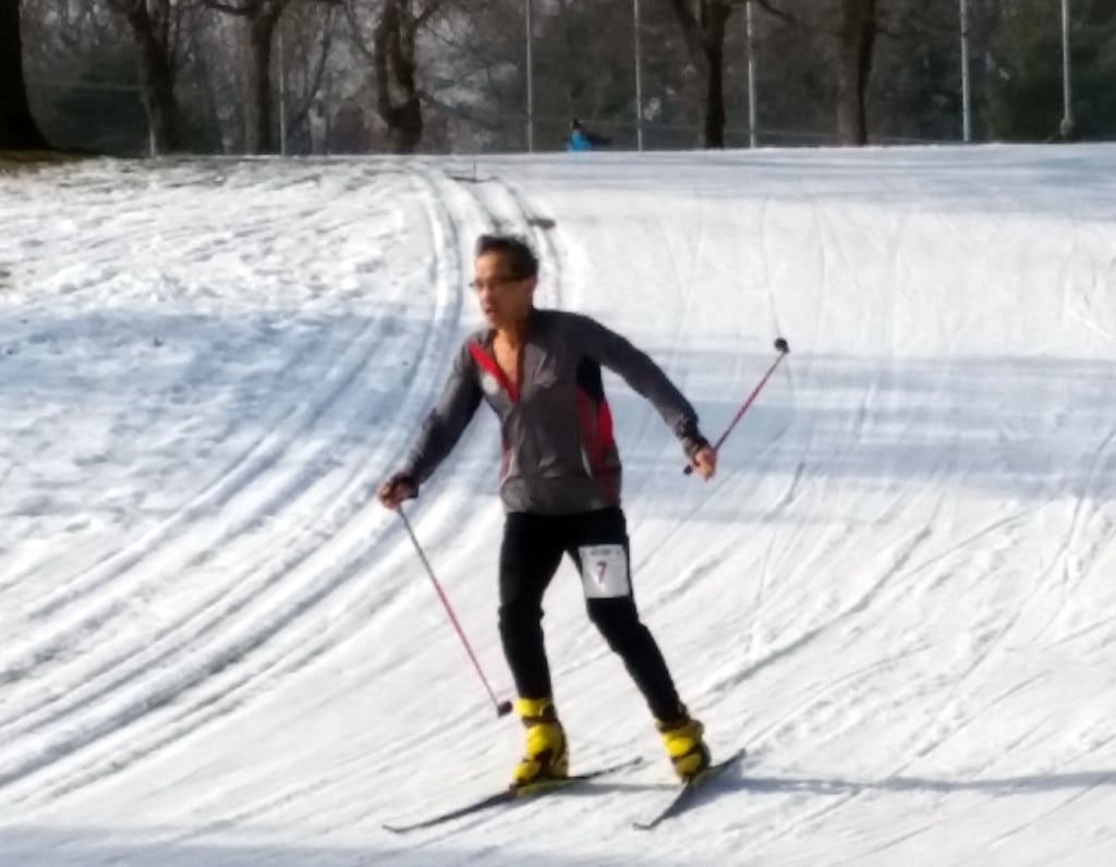 Senior triathlete Richard Chin beginning his last lap of the ski course at the 2016 National Winter Triathlon Championship held on January 31, 2016 in St. Paul, Minnesota, USA.