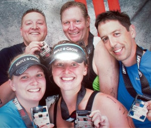family celebration at the 2014  Maple Grove Triathlon