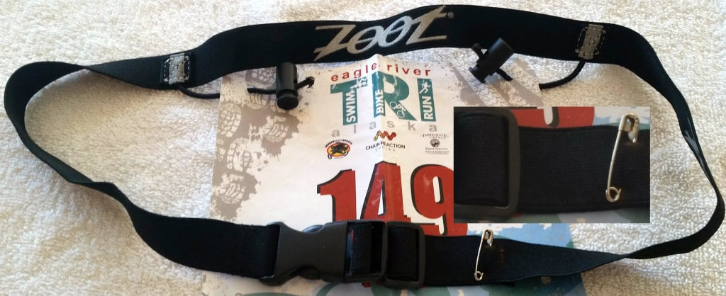 Race number belt with safety pin