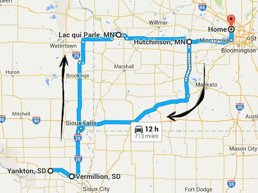 Map showing the route from Minneapolis to Yankton and back