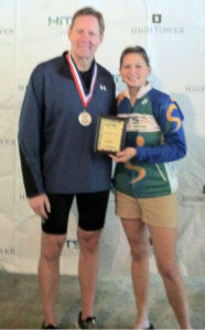 Receiving 1st place Age Group Award at the HITS Hunter, New York Sprint Triathlon.