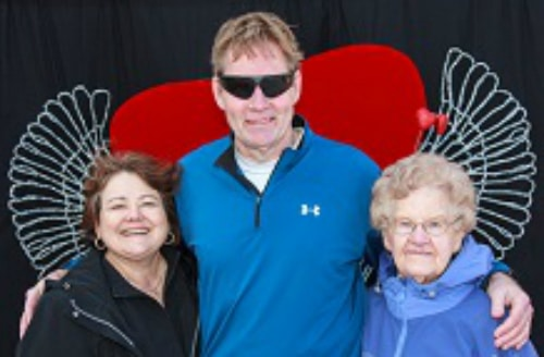 Joy and Terry with Aunt Evelyn at the Tri Catching Cupid Reverse Triathlon