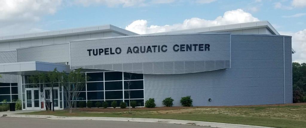The swim leg was held in the 50 meter long pool in the Tupelo Aquatic Center