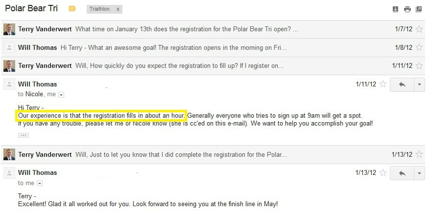 Email exchange with the Polar Bear Triathlon race director