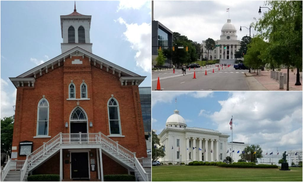 The run course took us past Dexter Avenue King Memorial Baptist Church (left), where Dr. Martin Luther King preached from 1954 to 1960, and around the Alabama State Capital (upper and lower right).