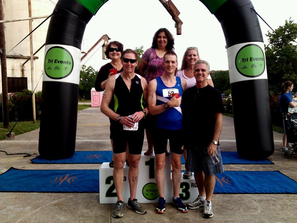 Friends after triathlon