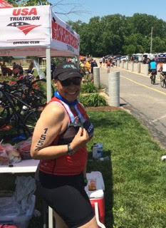 """Rocking the Medal from First OW"" St. Louis Triathlon, May 2016"