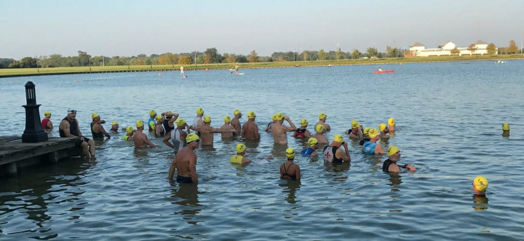 Awaiting the swim start at Sugarman Triathlon.