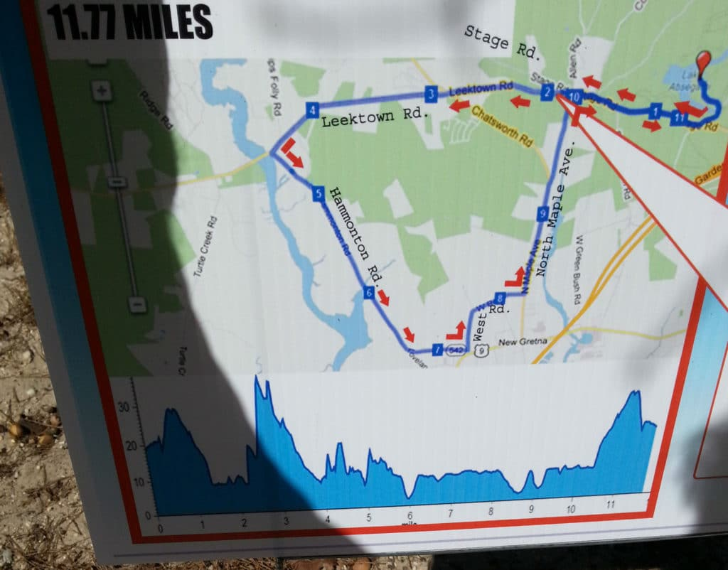 Map of Bassman sprint triathlon bike course