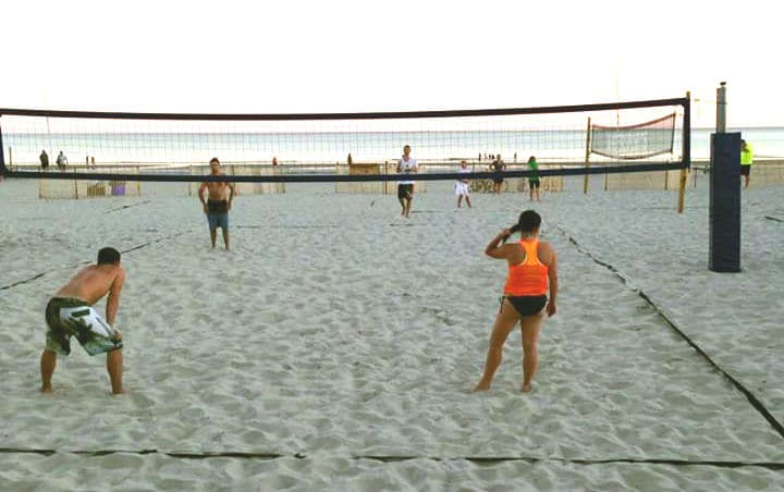 Beach volleyball at Coligny Beach, location of the swim for the South Carolina triathlon.