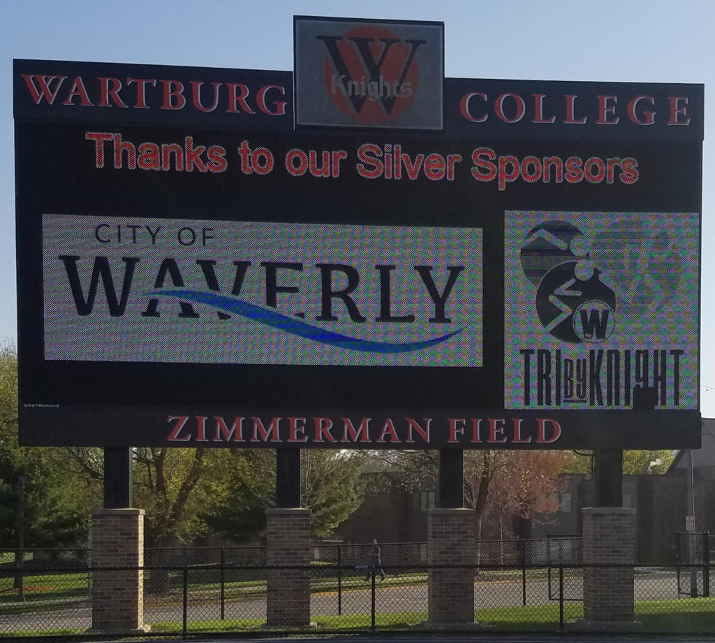 Wartburg Knights footfall field scoreboard for the Iowa triathlon