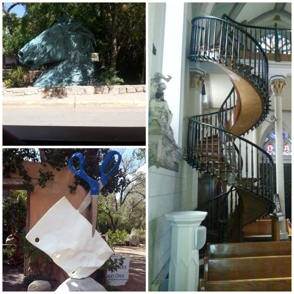 horse-head-and-giant-scissors-sculpture-and-Loretto-Chapel-staircase-in-Santa-Fe-New-Mexico