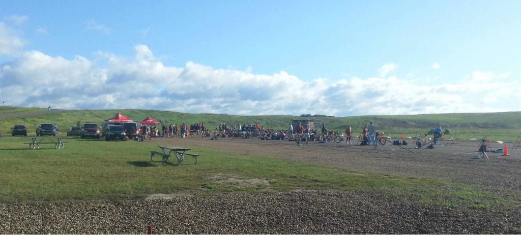 transition area of Bismark North Dakota triathlon