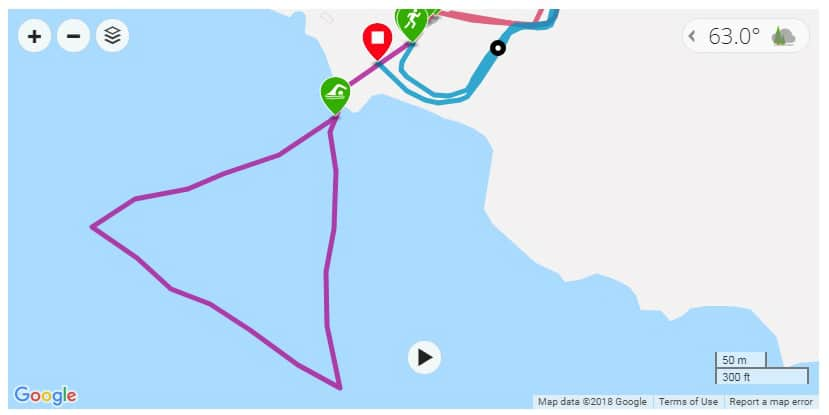 map-from-GPS-watch-for-swim-at-Battle-at-Buckhorn-triathlon