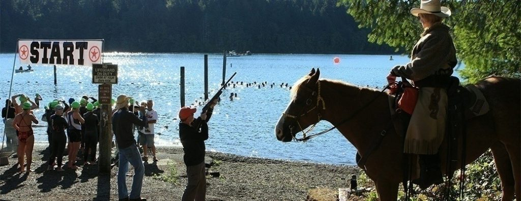 Best in the West Triathlon swim start at Foster Lake Oregon. (Picture courtesy of Best in the West Events.)