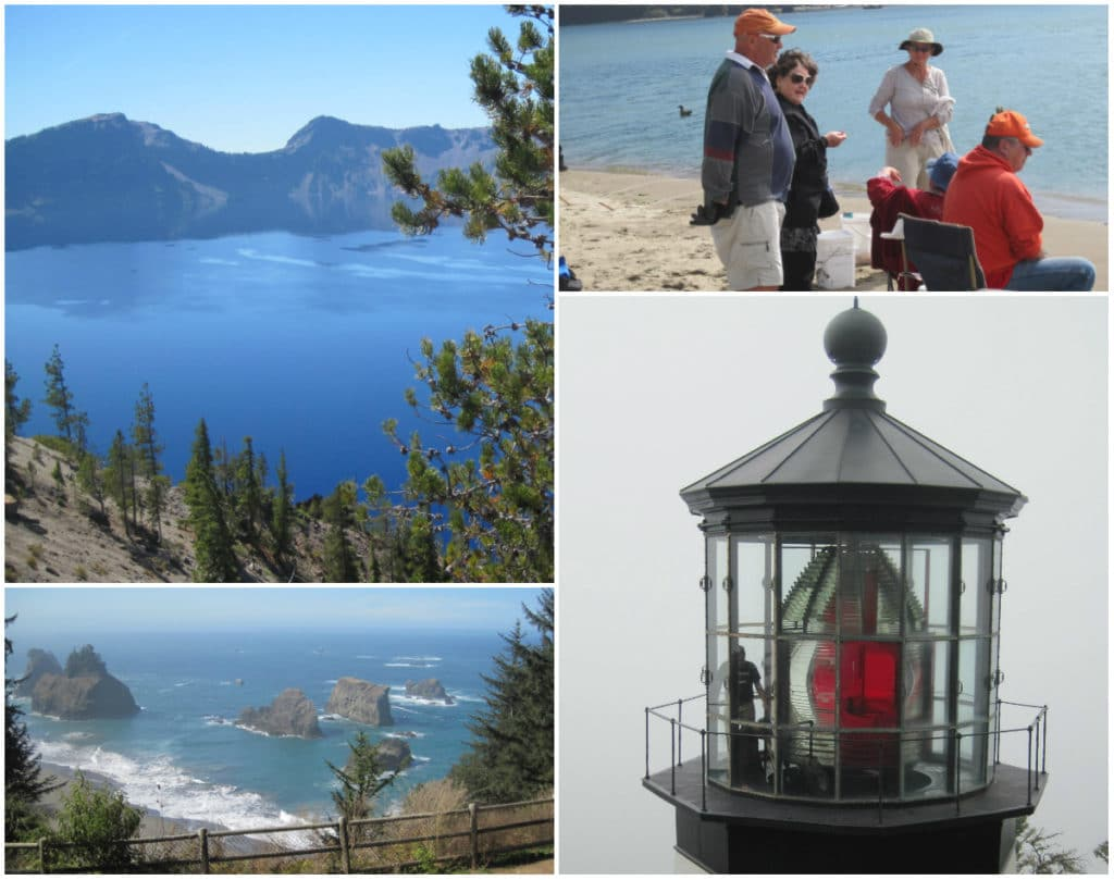 Crater Lake - Lincoln City Oregon - Cape Meares lighthouse - Arches Rock