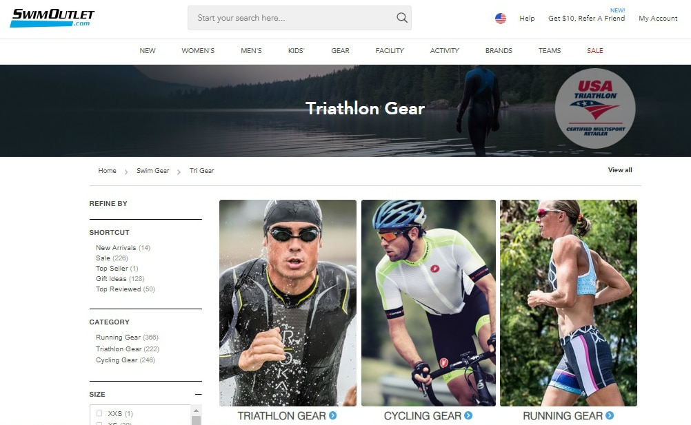 page on the SwimOutlet.com website for triathlon gear, one of the best websites for triathlon