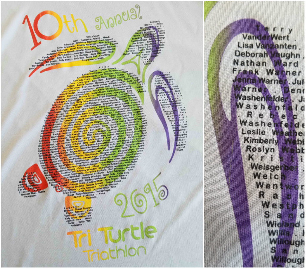 collage showing logo on t-shirt for Tri Turtle Tri and closeup of area with individual participant names