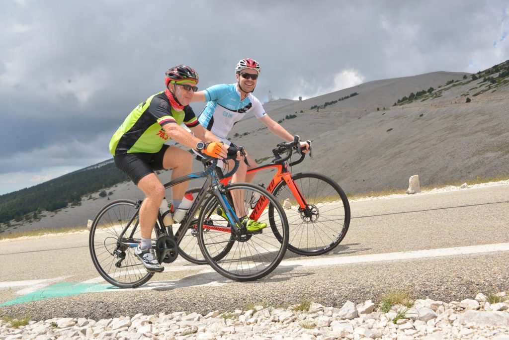 Laurent Labbe and his oldest son on the bike ride to the summit of Le Mont Ventoux