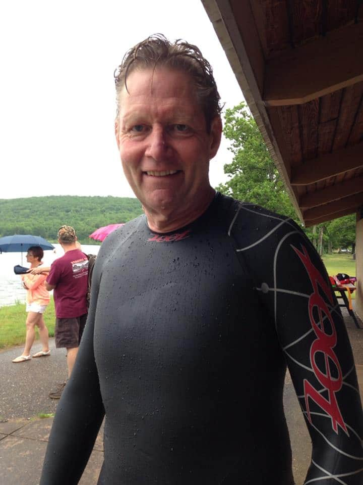 Ready for the swim with wetsuit in the cool waters of Lake Antoine at the Michigan triathlon.