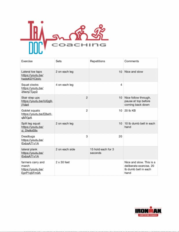 Example of a strength training plan by Jeff Sankoff Tri Doc, triathlon coach for seniors