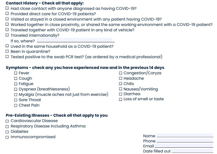 covid-19 portion of USA Triathlon Medical COVID-19 questionnaire