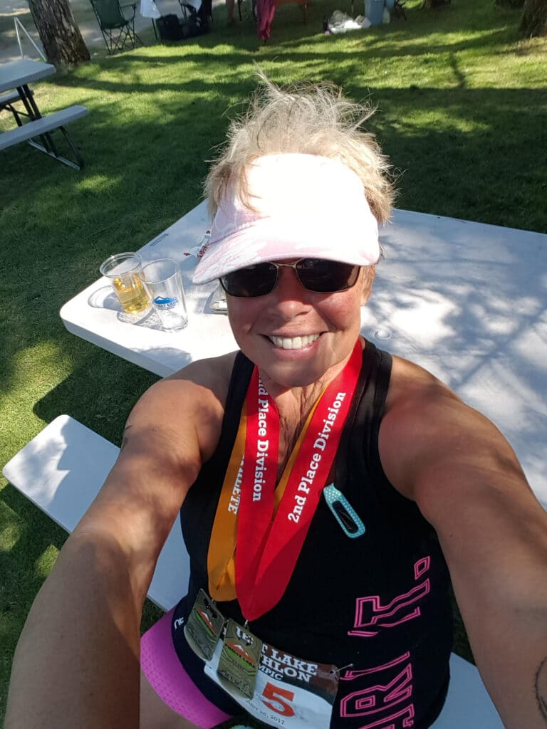 Doing your first triathlon in your 60s.  Marty Hunter started to compete in triathlon while in her 60s.