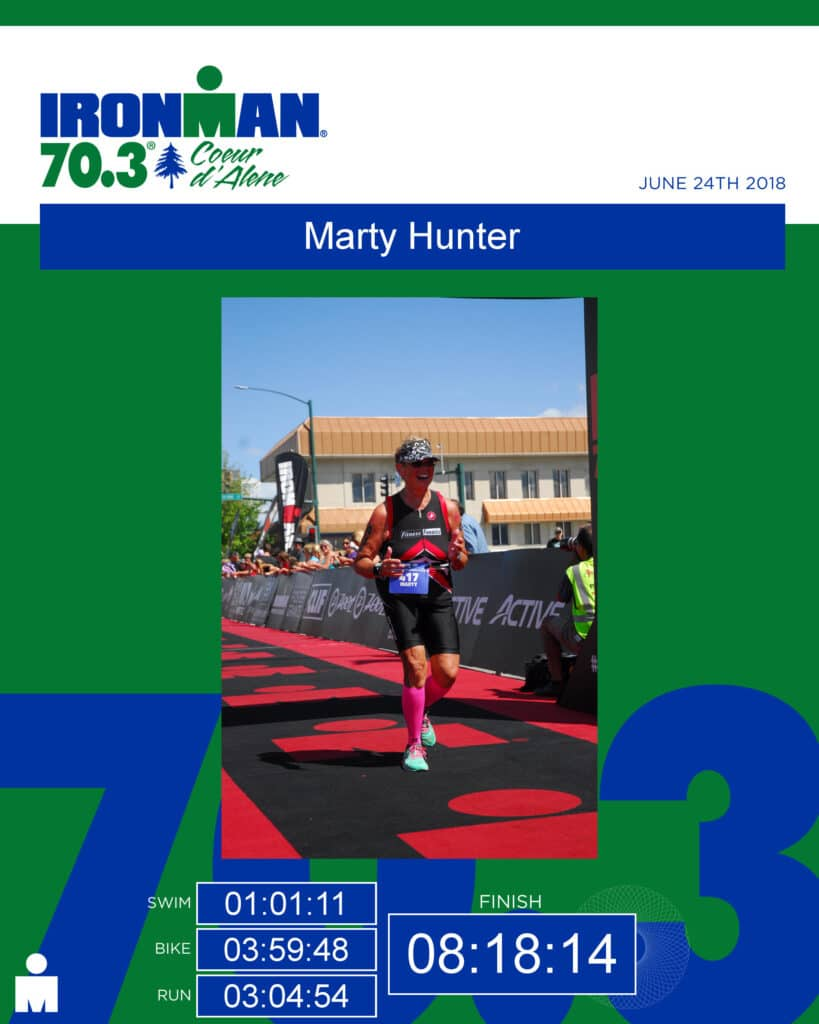 Doing your first triathlon in your 60s.  Marty completed her first half Ironman while in her 60s.