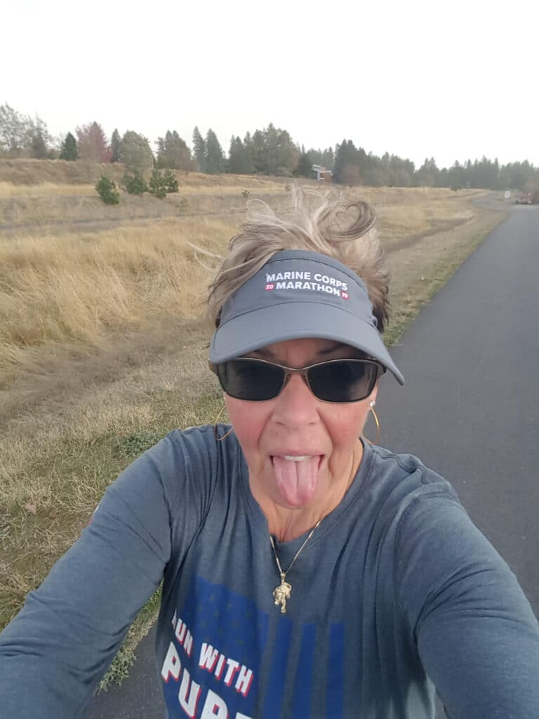 After doing your first triathlon in your 60s, Marty is training for her first Ironman.  This includes running  full marathons